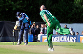 Cricket - ODI Summer Tri-Series - Scotland V Ireland at Grange CC - Edinburgh - Scotland batsman Josh Davey steers the ball away off the bowling of Ireland's Trent Johnston - Scotland beat Ireland by 5 wickets in a 320 run-chase - Picture by Donald MacLeod - 12.07.11 - 07702 319 738 - www.donald-macleod.com