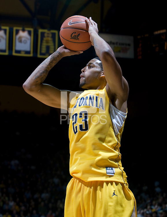 Allen Crabbe of California shoots the ball during the game against Stanford at Haas Pavilion in Berkeley, California on January  29th, 2012.   California defeated Stanford, 69-59.