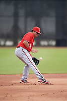 Washington Nationals Bryan Mejia (9) during a Minor League Spring Training game against the Miami Marlins on March 28, 2018 at FITTEAM Ballpark of the Palm Beaches in West Palm Beach, Florida.  (Mike Janes/Four Seam Images)
