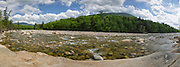Panoramic of the East Branch of the Pemigewasset River in Lincoln, New Hampshire USA during the spring months. This image consists of five images stitched together