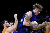 Finn Delaney (Giants) takes a rebound during the national basketball league semifinal match between Nelson Giants and Southland Sharks at TSB Bank Arena in Wellington, New Zealand on Saturday, 4 August 2018. Photo: Dave Lintott / lintottphoto.co.nz