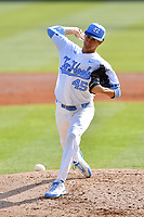 North Carolina Tar Heels starting pitcher Austin Bergner (45) delivers a pitch during a game against the Pittsburgh Panthers at Boshamer Stadium on March 17, 2018 in Chapel Hill, North Carolina. The Tar Heels defeated the Panthers 4-0. (Tony Farlow/Four Seam Images)