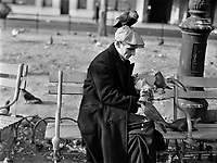 The Birdman: This man feeds the pigeons in Washington Square regularly. New York, New York. December 1941.<br /> <br /> Photo by Edwin Rosskam.