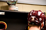 ST PAUL, MN - APRIL 7: A player of the week award sits atop the locker of Mikey Anderson #3 of the Minnesota-Duluth Bulldogs prior the Division I Men's Ice Hockey Championship held at the Xcel Energy Center on April 7, 2018 in St Paul, Minnesota. (Photo by Tim Nwachukwu/NCAA Photos via Getty Images)