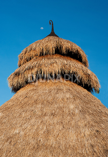 "Tiers of alang-alang grass provide a chimney for the Agni Hotri fire ceremony. A tassle of palm fiber (""ijuk"") binds the apex and adds a playful touch - reminiscent of Dr. Suess"
