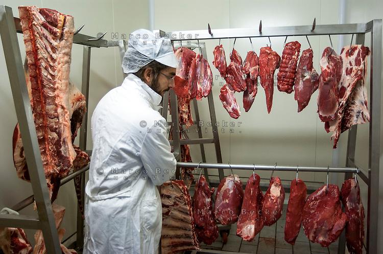 Varzi (Pavia), Cooperativa Agricola Canedo: allevamento semibrado di bovini da carne. Laboratorio di lavorazione e spaccio aziendale --- Varzi (Pavia), Canedo Agricultural Cooperative: semi-wild breeding of beef cattle. Processing laboratory and farm shop