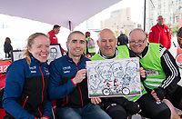 Picture by Allan McKenzie/SWpix.com - 24/09/2017 - Cycling - HSBC UK City Ride Liverpool - Albert Dock, Liverpool, England - Lora & Neil Fachie with riders having their cariacature done.