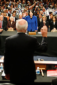 Washington, DC - July 13, 2009 -- United States Supreme Court nominee Judge Sonia Sotomayor is sworn in on the first day of confirmation hearings before the Senate Judiciary Committee on Capitol Hill in Washington on July 13, 2009. .Credit: Jim Bourg - Pool via CNP