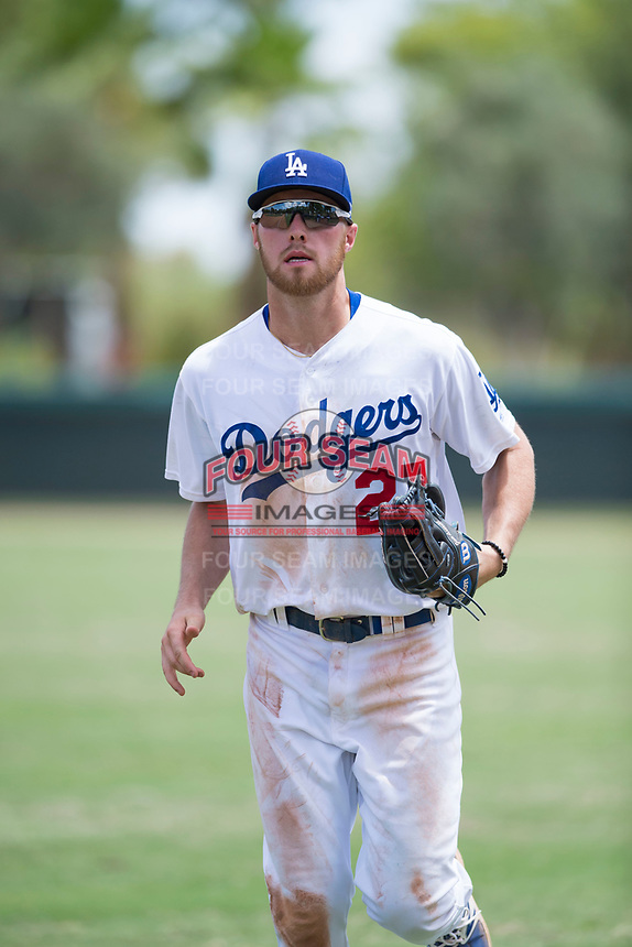 AZL Dodgers right fielder Jon Littell (27) jogs off the field between innings of an Arizona League game against the AZL Padres 2 at Camelback Ranch on July 4, 2018 in Glendale, Arizona. The AZL Dodgers defeated the AZL Padres 2 9-8. (Zachary Lucy/Four Seam Images)