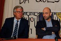Anniversario omicidio del giornalista Giancarlo Siani trucidato dalla Camorra nel 1985<br /> nella foto Paolo Siani con  Roberto Saviano