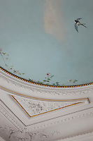 A detail of the drawing room highlighting the 19th century hand-painted ceiling which has been fully restored