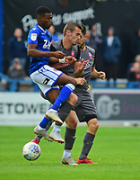 Lincoln City's Harry Toffolo is fouled by Macclesfield Town's Malachi Napa<br /> <br /> Photographer Andrew Vaughan/CameraSport<br /> <br /> The EFL Sky Bet League One - Macclesfield Town v Lincoln City - Saturday 15th September 2018 - Moss Rose - Macclesfield<br /> <br /> World Copyright &copy; 2018 CameraSport. All rights reserved. 43 Linden Ave. Countesthorpe. Leicester. England. LE8 5PG - Tel: +44 (0) 116 277 4147 - admin@camerasport.com - www.camerasport.com