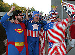 17 June 2006: American fans dressed as comic superheros. Italy played the United States at Fritz-Walter Stadion in Kaiserslautern, Germany in match 25, a Group E first round game, of the 2006 FIFA World Cup.