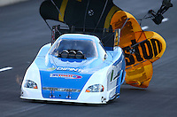 Jul. 20, 2013; Morrison, CO, USA: NHRA funny car driver Terry Haddock during qualifying for the Mile High Nationals at Bandimere Speedway. Mandatory Credit: Mark J. Rebilas-