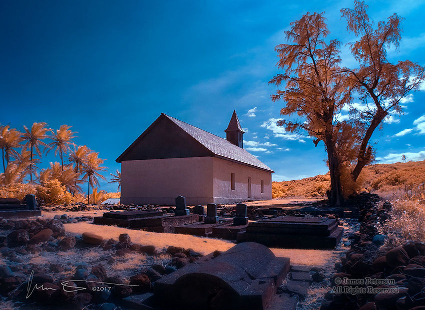 Huialoha Church, Malama Ka'aina, Maui, Hawaii (Infrared) ©2017 James D Peterson.   Like many churches in the small communities that abound in Hawaii, this one, on the remote eastern shore of the island, has a cemetery on its grounds.  This helps a visitor appreciate how many generations have been served by this congregation.