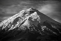 Black and white photo of Cotopaxi Volcano glacier covered 5,897m summit, Cotopaxi National Park, Cotopaxi Province, Ecuador