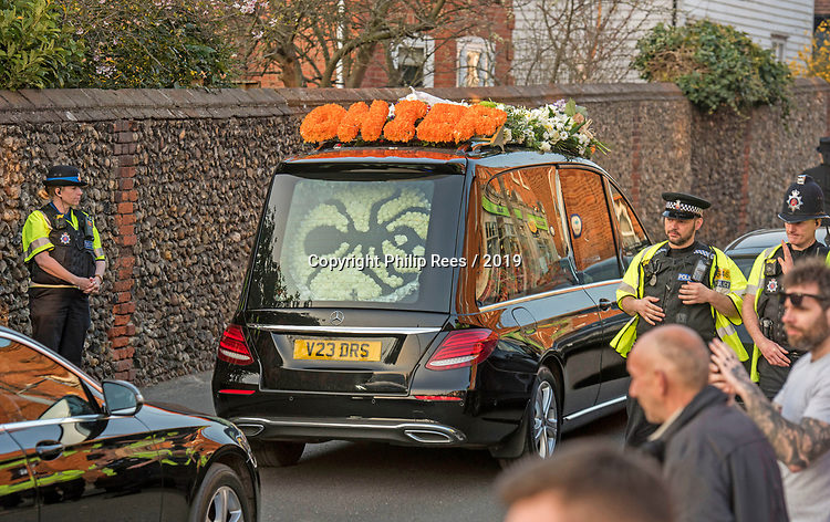 The hurse carrying the body of the late Prodigy singer Keith Flint leaves St Marys Church in Bocking,  Essex today after the service.