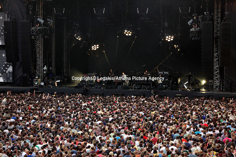 Pictured: Kings of Leon on stage. Wednesday 02 July 2014<br />