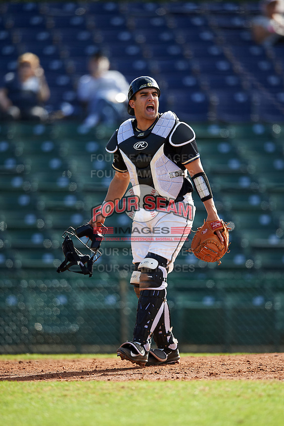 Pittsburgh Panthers catcher Manny Pazos (43) during a game against the Siena Saints on February 24, 2017 at Historic Dodgertown in Vero Beach, Florida.  Pittsburgh defeated Siena 8-2.  (Mike Janes/Four Seam Images)