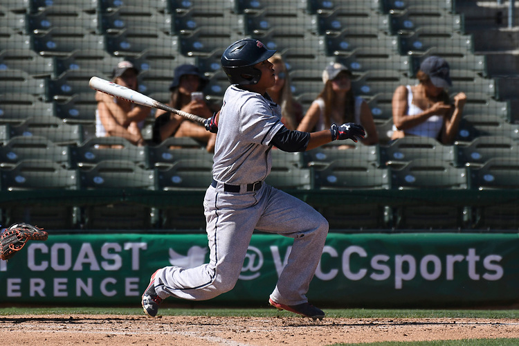 May 25, 2017; Stockton, CA, USA; Saint Mary's Gaels left fielder Brett Rasso during the WCC Baseball Championship at Banner Island Ballpark.