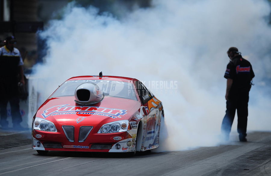 Jul, 10, 2011; Joliet, IL, USA: NHRA pro stock driver Greg Anderson during the Route 66 Nationals at Route 66 Raceway. Mandatory Credit: Mark J. Rebilas-