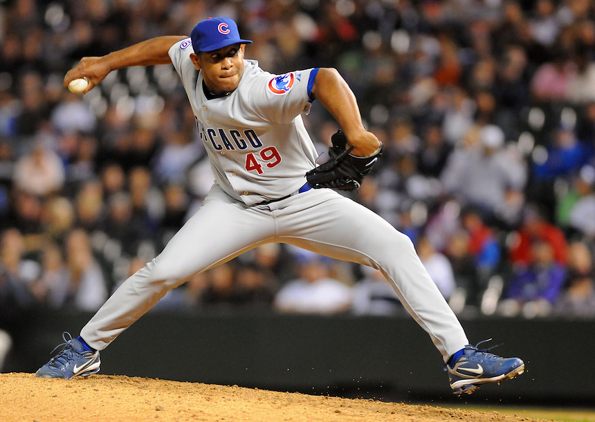 16 APRIL 2011:  Chicago Cubs relief pitcher Carlos Marmol (49) during a regular season game between the Chicago Cubs and the Colorado Rockies at Coors Field in Denver, Colorado. The Bubs beat the Rockies 8-3.   *****For Editorial Use Only*****