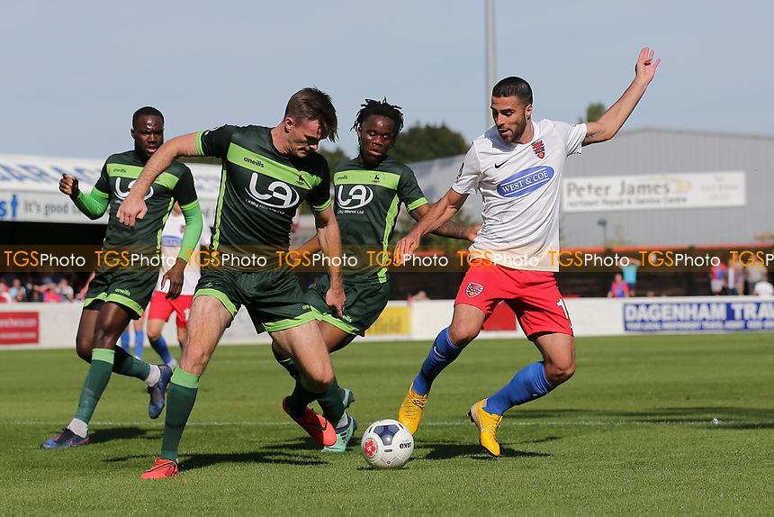 Joan Luque of Dagenham and Redbridge and Fraser Kerr of Hartlepool United during Dagenham & Redbridge vs Hartlepool United, Vanarama National League Football at the Chigwell Construction Stadium on 14th September 2019