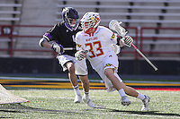 College Park, MD - February 18, 2017: Maryland Terrapins Timothy Monahan (33)  in action during game between High Point and Maryland at  Capital One Field at Maryland Stadium in College Park, MD.  (Photo by Elliott Brown/Media Images International)