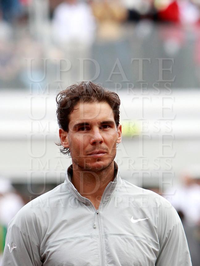 Lo spagnolo Rafael Nadal, sconfitto nella finale maschile degli Internazionali d'Italia di tennis a Roma, 18 maggio 2014.<br /> Spain's Rafael Nadal looks on after being defeated in the men's final match of the Italian open tennis tournament, in Rome, 18 May 2014.<br /> UPDATE IMAGES PRESS/Isabella Bonotto