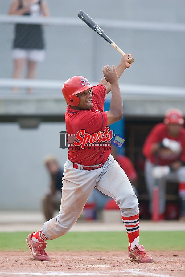 Curt Smith (10) of the Johnson City Cardinals follows through on his swing at Dan Daniels Park in Danville, VA, Sunday July 27, 2008.
