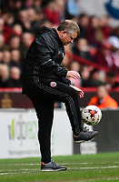 Sheffield United manager Chris Wilder controls the ball as it goes out of play<br /> <br /> Photographer Chris Vaughan/CameraSport<br /> <br /> The EFL Sky Bet League One - Sheffield United v Charlton Athletic - Saturday 18th March 2017 - Bramall Lane - Sheffield<br /> <br /> World Copyright &copy; 2017 CameraSport. All rights reserved. 43 Linden Ave. Countesthorpe. Leicester. England. LE8 5PG - Tel: +44 (0) 116 277 4147 - admin@camerasport.com - www.camerasport.com