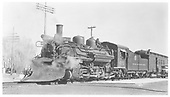 3/4 left side view of K-28 #475 with plow.<br /> D&amp;RGW  La Jara, CO  11/1937