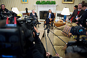 "United States President Barack Obama, right, speaks during a meeting with Prime Minister Benjamin Netanyahu of Israel in the Oval Office of the White House in Washington, D.C., U.S., on Monday, March 3, 2014. Obama urged Netanyahu to ""seize the moment"" to make peace, saying time is running out to negotiate an Israeli-Palestinian agreement. <br /> Credit: Andrew Harrer / Pool via CNP"