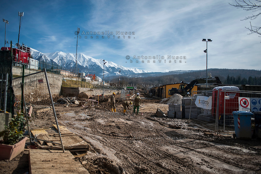 Amatrice, Italy, February 13, 2017.Italian army committed to build the new houses. Six months after the earthquake, nothing has changed. The rubble is still there; nothing has been moved, recorded or stored. People are still living in provisional accommodation but the greatest loss, to many residents, is the loss of their former peaceful lives.