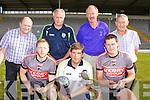 Kerry Manager Eamon Fitzmaurice and players Brendan Kealy and Eoin Brosnan who are appealing for teams for the Fitzgerald Stadium golf classic which will be held this Friday back l-r: Andy O'Sullivan Chairman of the Stadium finance committee, Mikey Sheehy Kerry selector, Der Brosnan Chairman Fitzgerald Stadium and Tim Ryan Chairman East Kerry Board (main Sponsors)
