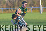 Liam Griffin Killorglin stops Dylan Lacy Fermoy at killorglin rfc vs fermoy rfc Match at O'Dowd Park Tralee on Sunday