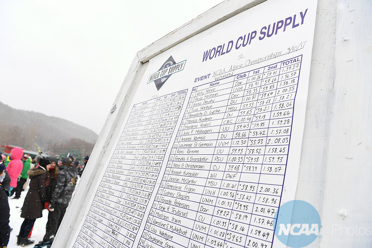 FRANCONIA, NH - MARCH 10:   The scoreboard of the Slalom event at the Division I Men's and Women's Skiing Championships held at Cannon Mountain on March 10, 2017 in Franconia, New Hampshire. (Photo by Gil Talbot/NCAA Photos via Getty Images)