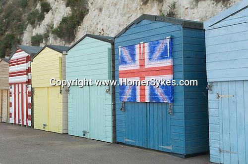 British Union Jack decorated beach Hut, Broadstairs Kent UK