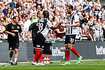 Jon-Paul Pittman of Grimsby Town replaces Ollie Palmer of Grimsby Town during the 2015 Vanarama Conference Promotion Final match between Grimsby Town and Bristol Rovers at Wembley Stadium, London<br /> Picture by David Horn/eXtreme aperture photography +44 7545 970036<br /> 17/05/2015