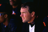 SAN FRANCISCO, CA - John Burkett of the San Francisco Giants sits in the dugout during a game at Candlestick Park in San Francisco, California in 1993. (Photo by Brad Mangin)