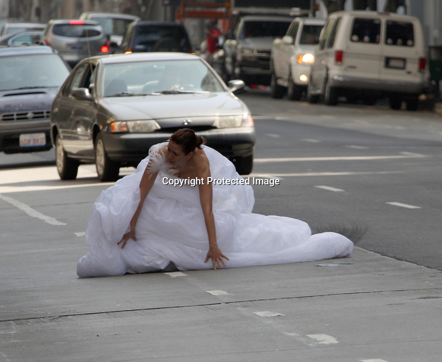August 9th 2010   Exclusive MONday.. Maya Rudolph running across the street wearing a white wedding dress in Los Angeles. Maya was filming the movie Bridesmaids. Maya falls as she is running across the street & almost gets hit by a car.  Director Paul Feig helped Maya through her scenes but the stand in took all the really hard falls. ...AbilityFilms@yahoo.com.805-427-3519.www.AbilityFilms.com.