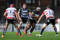 Beno Obano of Bath Rugby in possession. West Country Challenge Cup match, between Gloucester Rugby and Bath Rugby on September 13, 2015 at the Memorial Stadium in Bristol, England. Photo by: Patrick Khachfe / Onside Images