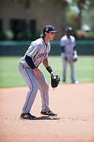 AZL Padres 2 third baseman Jonny Homza (17) during an Arizona League game against the AZL Dodgers at Camelback Ranch on July 4, 2018 in Glendale, Arizona. The AZL Dodgers defeated the AZL Padres 2 9-8. (Zachary Lucy/Four Seam Images)