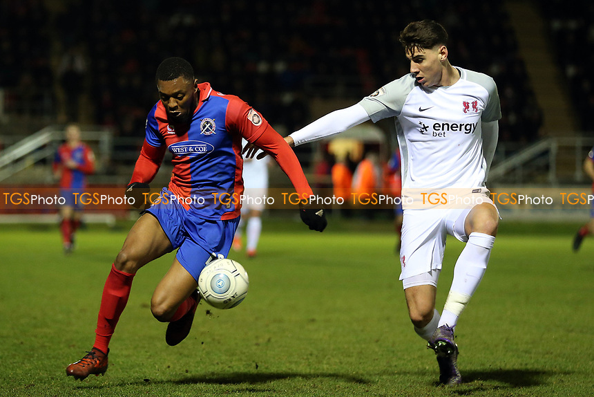 Danny Happe of Leyton Orient and Morgan Ferrier of Dagenham during Dagenham & Redbridge vs Leyton Orient, Vanarama National League Football at the Chigwell Construction Stadium on 1st January 2018