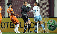 Chicago goalkeeper Caroline Jonsson (1) protects the ball from Sky Blue's Natasha Kai (6) as teammate Jill Oakes (24) looks on.  Sky Blue defeated the Chicago Red Stars 1-0 in a mid-week game, Wednesday, June 17, at Yurcak Field.