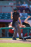Umpire Sean Shafer-Markle calls a strike during an Eastern League game against the Richmond Flying Squirrels and Erie SeaWolves  on August 28, 2019 at UPMC Park in Erie, Pennsylvania.  Richmond defeated Erie 6-4 in the first game of a doubleheader.  (Mike Janes/Four Seam Images)