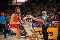 VALENCIA, SPAIN - JANUARY 6: Fernando San Emeterio and Thomas Kottas during EUROCUP match between Valencia Basket and PAOK Thessaloniki at Fonteta Stadium on January 6, 2015 in Valencia, Spain