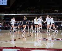 STANFORD, CA - December 1, 2018: Holly Campbell, Kathryn Plummer, Audriana Fitzmorris, Jenna Gray, Morgan Hentz, Meghan McClure at Maples Pavilion. The Stanford Cardinal defeated Loyola Marymount 25-20, 25-15, 25-17 in the second round of the NCAA tournament.