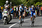 Maximilian Schachmann (GER) Quick-Step Floors and Ruben Plaza (ESP) Israel Cycling Academy from the breakaway group battle it out approaching the end of Stage 18 of the 2018 Giro d'Italia, running 196km from Abbiategrasso to Prato Nevoso, Italy. 24th May 2018.<br /> Picture: LaPresse/Fabio Ferrari | Cyclefile<br /> <br /> <br /> All photos usage must carry mandatory copyright credit (&copy; Cyclefile | LaPresse/Fabio Ferrari)