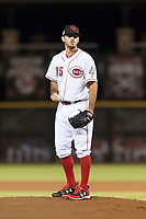 Scottsdale Scorpions relief pitcher Austin Orewiler (75), of the Cincinnati Reds organization, gets ready to deliver a pitch during an Arizona Fall League game against the Surprise Saguaros at Scottsdale Stadium on October 15, 2018 in Scottsdale, Arizona. Surprise defeated Scottsdale 2-0. (Zachary Lucy/Four Seam Images)